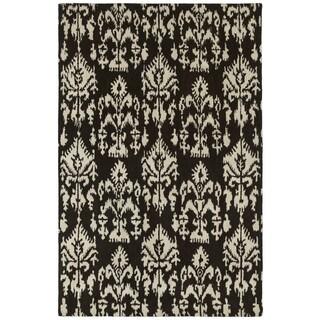 Swanky Black Ikat Wool Rug (5' x 7'6)