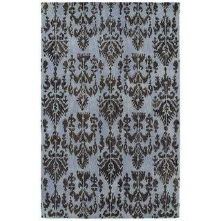 Swanky Blue Ikat Wool Rug (7'6 x 9')
