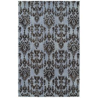 Swanky Blue Ikat Wool Rug (9'6 x 13')