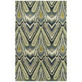 Swanky Avocado & Blue Ikat Wool Rug (5' x 7'6)