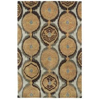 Swanky Beige Ikat Damask Wool Rug (7'6 x 9')