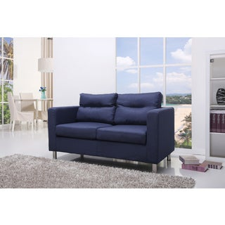 Gold Sparrow Detroit Blue Fabric Loveseat