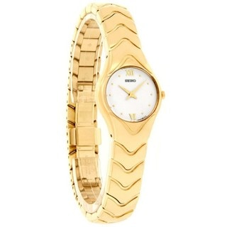 Seiko Women's Gold-tone Stainless Steel Watch with White Dial