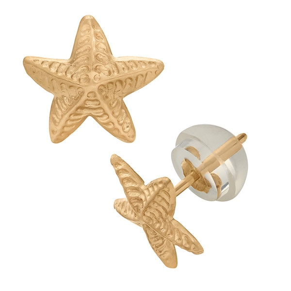 Junior Jewels 14k Yellow Gold Children's Starfish Stud Earrings