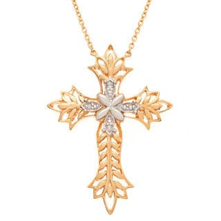 Neda Behnam Vermeil Plated Silver Diamond Cross Necklace (H-I, SI1-SI2)