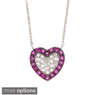 14k Gold 1/10ct TDW Diamond and Gemstone Heart Necklace (H-I, I1-I2)