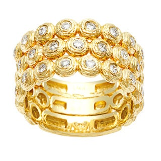 Diamonds For A Cure 14k Yellow Gold Multi Row Bezel Ring