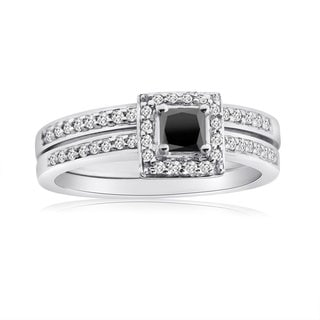 10k Gold 1/2ct TDW Black and White 2-Piece Diamond Ring Set (H-I, I1-I2)