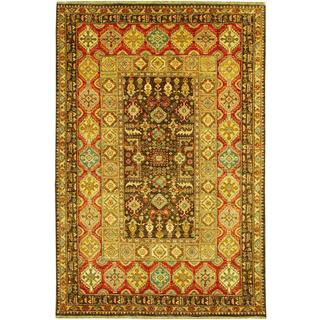 Lahore Marasali Brown/ Rust Wool Rug (5'6 x 8')