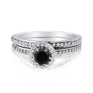 10k Gold 1/2ct TDW Black and White 2-piece Round-set Diamond Ring Set (H-I, I1-I2)