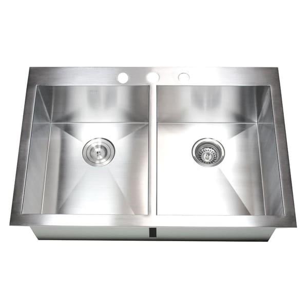 36 inch 16 Gauge Stainless Steel Double Bowl Topmount Drop