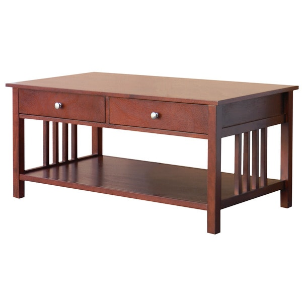 Hollydale Chestnut Mission Style Coffee Table 15782613 Overstock