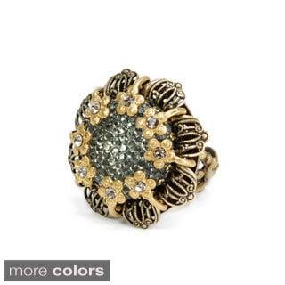 Sweet Romance Bronzetone or Silvertone Crystal Flower Ring