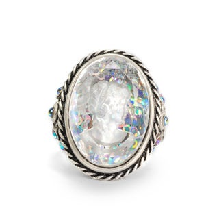 Sweet Romance Silvertone Crystal Intaglio Sparkle Ring