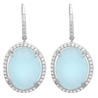Sterling Essentials Silver Pale Blue Jade and CZ Drop Earrings