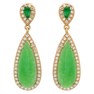 Sterling Essentials 14k Gold over Silver Apple Green Jade and CZ Drop Earrings