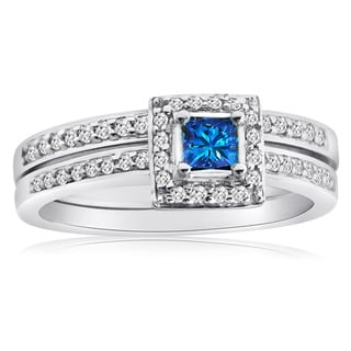 10k Gold 1/2ct TDW Blue and White Diamond Halo Bridal Ring Set (H-I, I1-I2)
