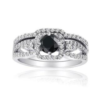 10k White Gold 1ct TDW Black and White Diamond Bridal Ring Set (H-I, I1-I2)