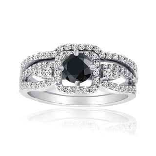 10k White Gold 1ct TDW Black and White Diamond Bridal Ring Set (H-I, I1-I2)