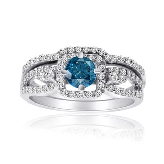 10k Gold 1ct TDW Blue and White Diamond Bridal Ring Set (H-I, I1-I2)