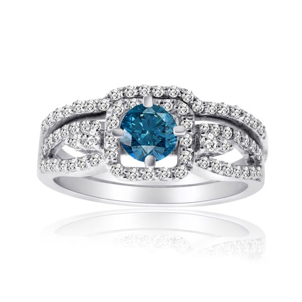10k Gold 1ct TDW Blue and White Diamond Bridal Ring Set (H-I, I1-I2)