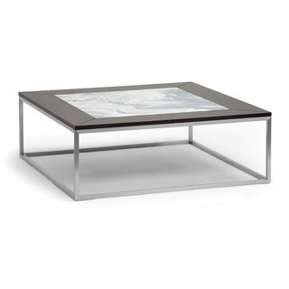 Baxton Studio Jezeka Brown Modern Coffee Table with Marble Inlay