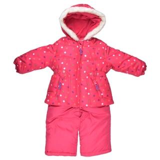 Osh Kosh Girl's Pink Faux-Fur Trimmed Two-Piece Snowsuit