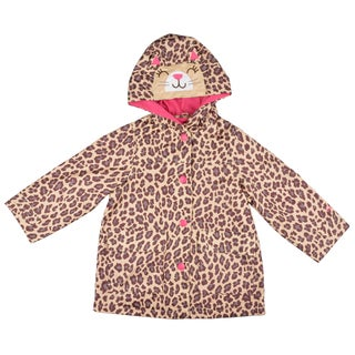 Carter's Girl's Hooded Brown Cheetah Print Rain Coat