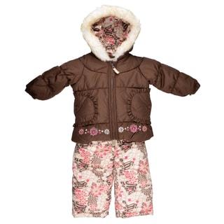 London Fog Girl's Faux Fur Trimmed Two-Piece Brown Snowsuit