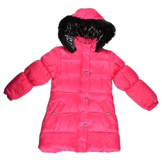 London Fog Girl's Faux Fur Trimmed Hooded Coat