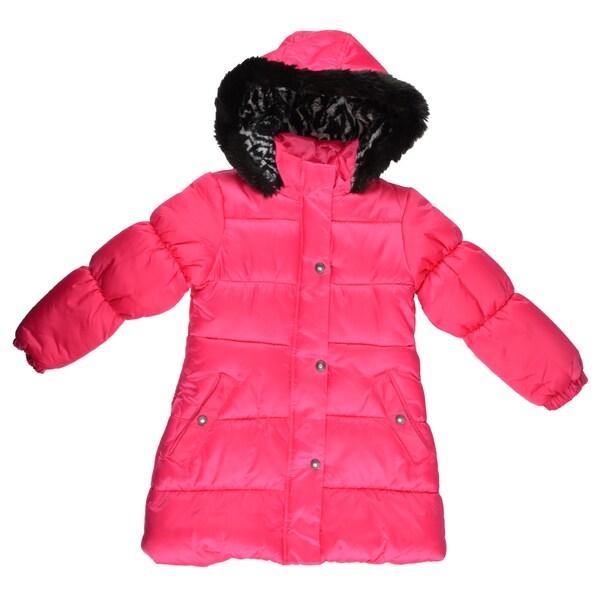 London Fog Girl's Faux Fur Trimmed Hooded Coat