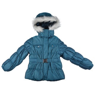 London Fog Girl's Hooded Faux Fur Trimmed Coat