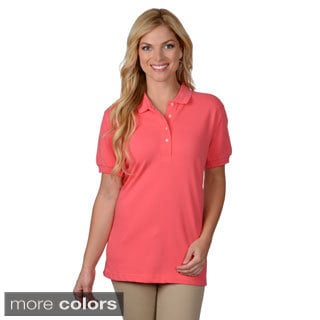 Journee Collection Women's Short-Sleeve Round-Neckline Polo Shirt