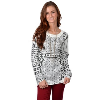 Journee Collection Women's Long Sleeve Graphic Print Sweater