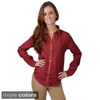 Journee Collection Women's Long Sleeve Leather Trim Shirt