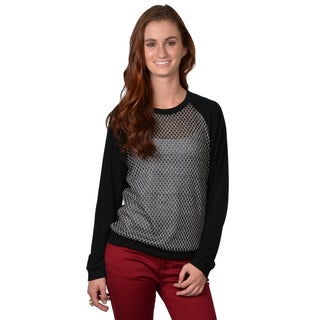 Journee Collection Women's Long Sleeve Sheer Front Top