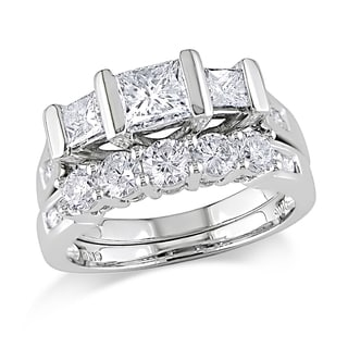 Miadora 14k Gold 2ct TDW Princess Cut 2-Piece Diamond Ring Set (G-H, SI1-SI2)