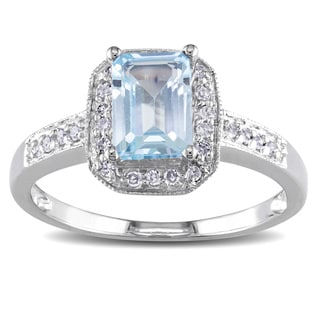 Miadora 14k White Gold Sky Blue Topaz and 1/8ct TDW Diamond Ring (H-I, I1-I2)