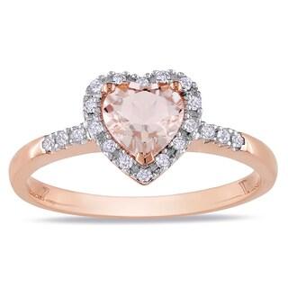 Miadora Roseplated Silver Morganite and 1/10ct TDW Diamond Heart Ring (H-I, I2-I3)