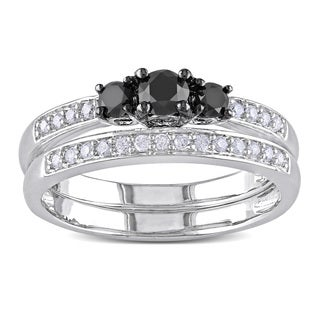 Haylee Jewels Sterling Silver 1/2ct TDW Black and White Diamond Ring Set (H-I, I2-I3)