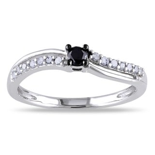 Miadora Sterling Silver 1/4ct TDW Black and White Diamond Promise Ring (H-I, I2-I3)