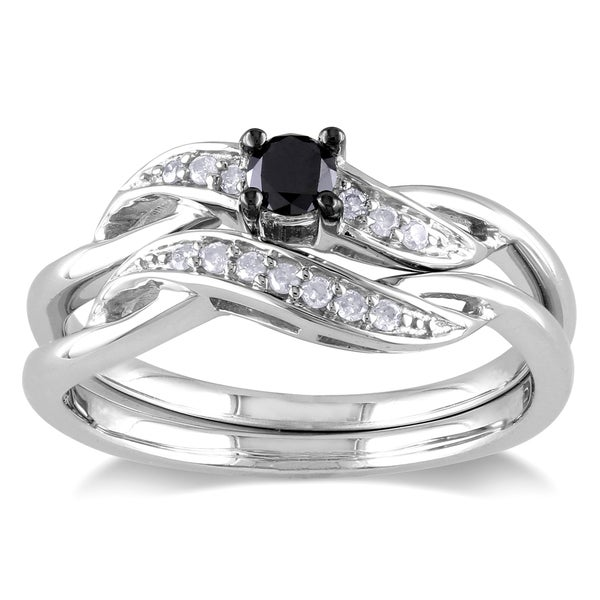 Kay Neil Lane Bridal Set Ct Tw Diamonds White Gold Tdw Diamond Ring Wedding Fashion -  Silver Ct Tdw Black White Diamond Bridal Set Laurel Heart Shape Faux Wedding Ring Only