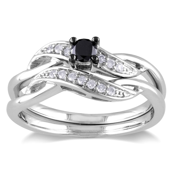 Haylee Jewels Sterling Silver 1 4ct TDW Black and White Diamond Bridal Set H