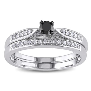 Haylee Jewels Sterling Silver 1/3ct TDW Black and White Diamond Ring Set (H-I, I2-I3)