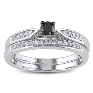Miadora Sterling Silver 1/3ct TDW Black and White Diamond Ring Set (H-I, I2-I3) with Bonus Earrings