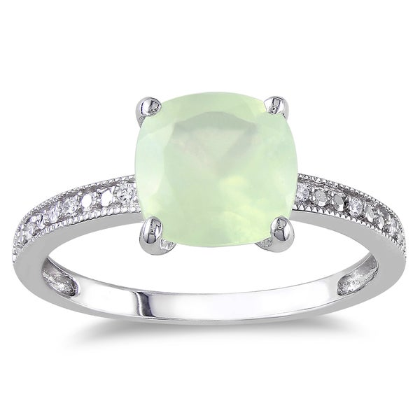 Miadora 10k White Gold Prehnite and Diamond Cocktail Ring