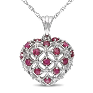 Miadora 10k White Gold Ruby Heart Necklace