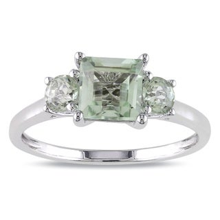 Miadora 10k White Gold Green Amethyst and Diamond 3-stone Ring