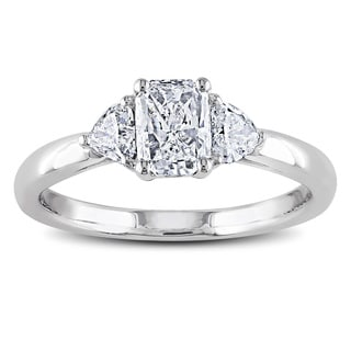 Miadora Signature Collection 14k Gold 1ct TDW Radiant and Heart Side Stone Diamond Ring (G-H, I1-I2)