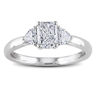Miadora 14k Gold 1ct TDW Radiant and Heart Side Stone Diamond Ring (G-H, I1-I2)